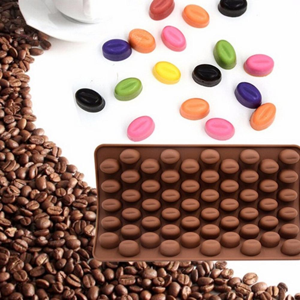 55 Cavity Silicone Coffee Beans Cake Mould Oven Chocolate Decoration Baking Tool image