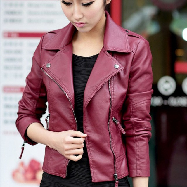 New Autumn Women Jacket Red Black PU Jackets Motorcycle   Leather   Jacket Slim Casual Coat