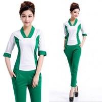 Women's Fashion Short Sleeve Top + Cropped Trousers Medical Uniforms Nursing Scrubs Spa Tunic Suit