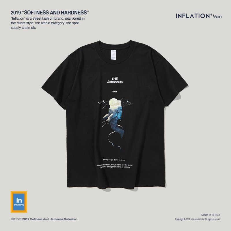 Инфляция астронавтов печатных для мужчин футболки с круглым вырезом футболка хлопок повседневное уличная футболки для супружеской пары 91278 S