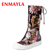 ENMAYLA Spring Print Flowers Lace-up Flats Shoes wns Black Multi Color Falts Half Boots