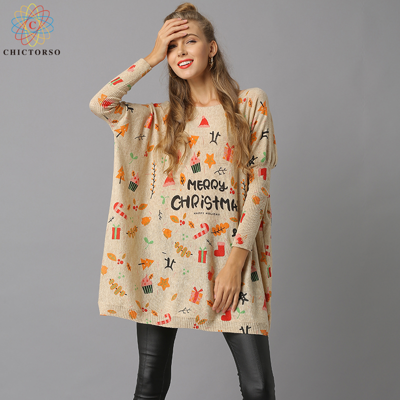 Chictorso Letter Print Women Christmas Sweater Dress Casual Girls Slouchy Long Sweaters Pullover Colorful Loose Fit Jumper Gift