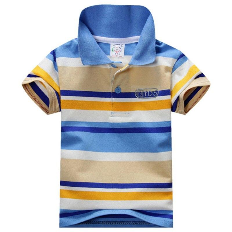 2016 Verão Baby Boy Crianças dos miúdos Striped Cotton Tops Tee Esportes Camisas Pólo Roupas 1-7A S-XXXL