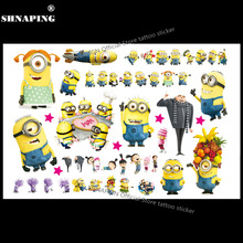 Söt Minions Barn Tillfällig Tattoo Body Art Flash Tattoo Stickers 17 * 10cm Vattentät Heminredning Bil Styling Tatoo Wall Sticker