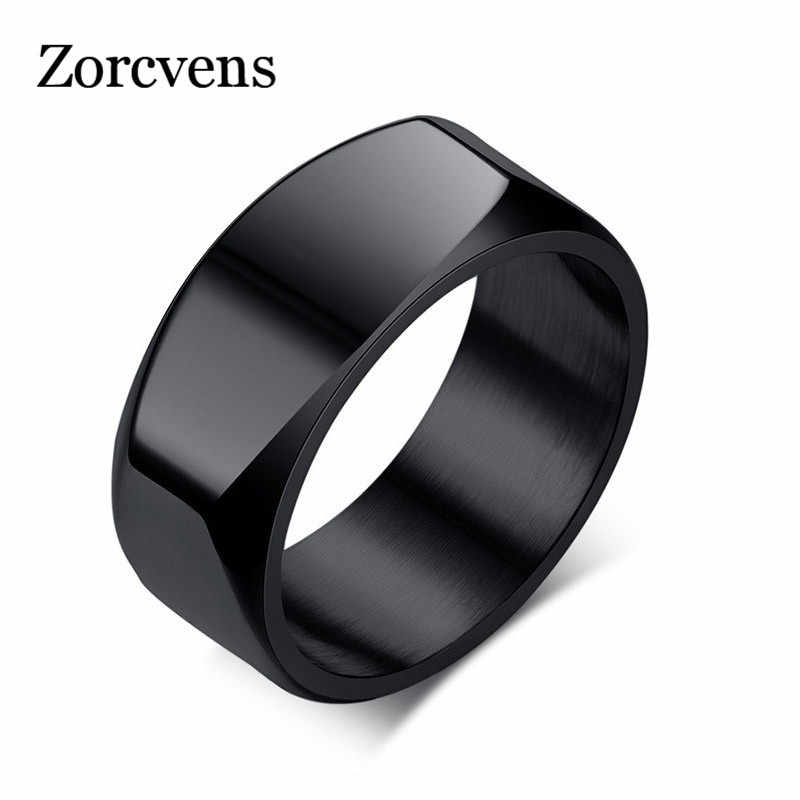 ZORCVENS Mens Ring Punk Stainless Steel Basic Ring for Men Boy Cocktail Male Ceremony Jewelry