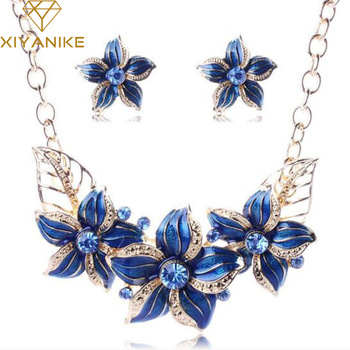 Crystal Enamel Flower Jewelry Sets Women African Costume Jewelry Maxi Necklace Earring Set