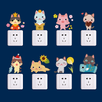 12pcs Cute Cat Switch Sticker Cabinet Refrigerator Glass Heart Bedroom Living Room Decorative Wall Stickers Affixed Kindergarten