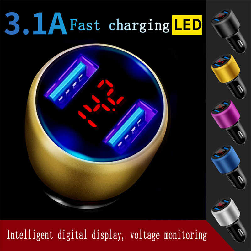 Battery Charging New 3.1A Dual USB Car Charger 2 Port LCD Display 12-24V Cigarette Socket Lighter Candy colored Car Accessories
