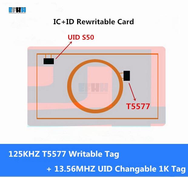 IC + ID 125KHz T5577 ir UID keičiamas S50 1K 13.56mhz NFC 2in1 perrašomos kortelės UID rašytina kompozicinė kortelė, skirta RFID / NFC kopijuokliui, 1vnt