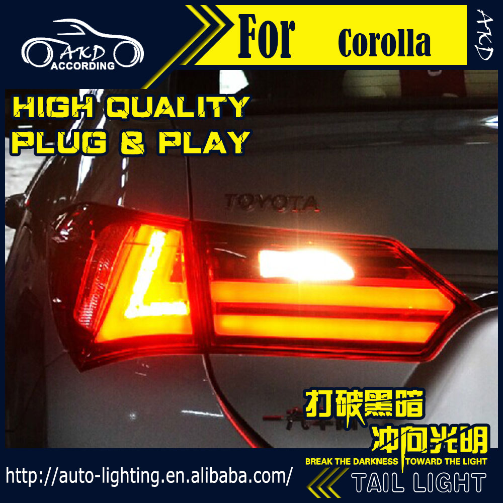 AKD Car Styling Tail Lamp for Toyota Corolla Altis Tail Lights 2014 New LED Tail Light Signal LED DRL Stop Rear Lamp Accessories union car styling for 2014 corolla taillights new corolla altis led tail lamp altis rear lamp drl brake park signal led light