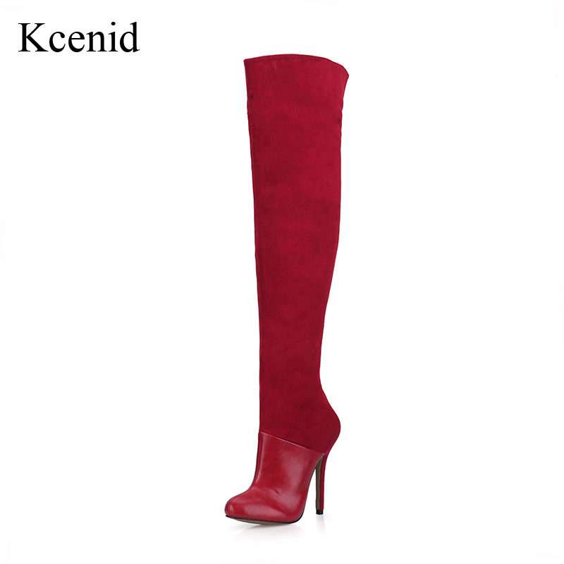 Kcenid Fashion round toe patchwork long booties women stars shoes zip over the knee boots sexy