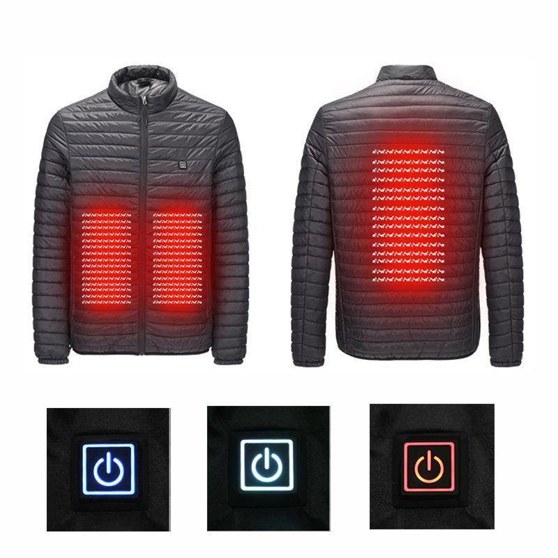 Nouvelle annonce 2018 USB infrarouge chauffage hiver hommes vers le bas Parkas vestes mode homme à capuche épais vêtements d'extérieur chauds pardessus manteau ouaté