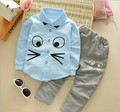 The 2016 year old Korean boys and girls fall fashion 0-3 baby children creative cartoon cat shirt pants suit for boys hot sale