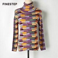 Полушерстяные Свитер для Для женщин тонкий Свитер с воротником Для женщин вязаные свитера пуловеры водолазка с длинным
