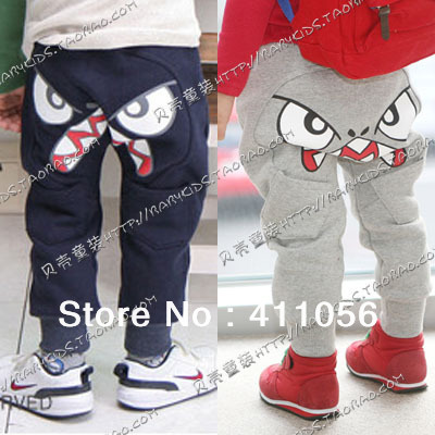 2013 autumn cartoon big eyes boys clothing girls clothing baby trousers breeched kz-0640