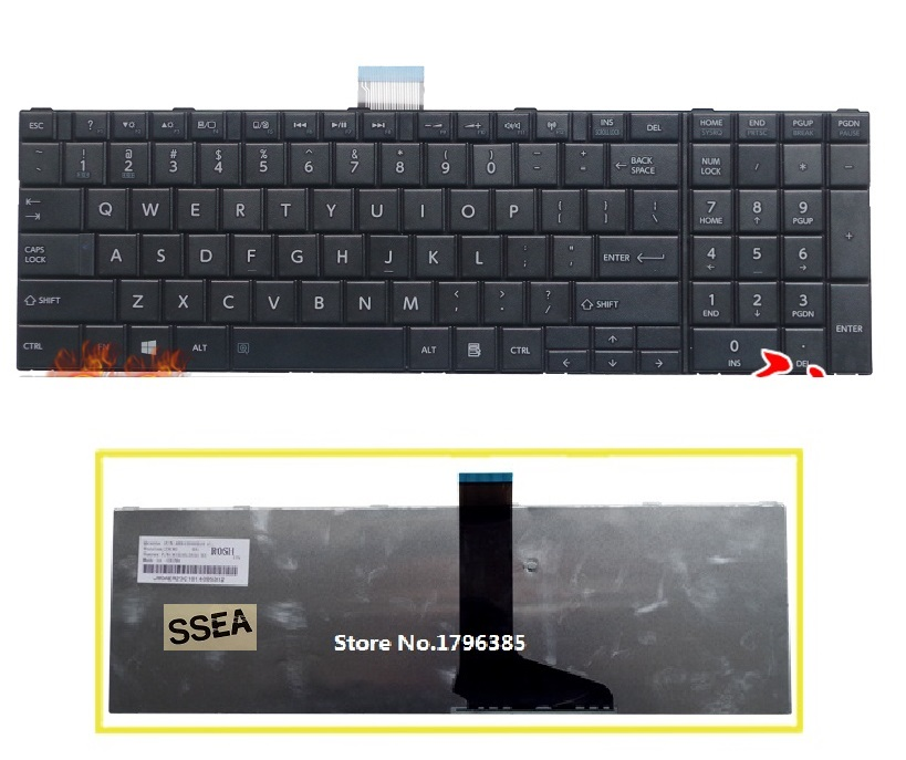 SSEA New US Keyboard For Toshiba Satellite C850 C850D C855 C855D C870 C870D C875 Series L850 L850D L870 L870D L875 L875D image
