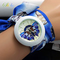 shsby new floral chiffon sweet girls watch Sweet chiffon fabric women dress watches fashion Ladies flower cloth wrist watch