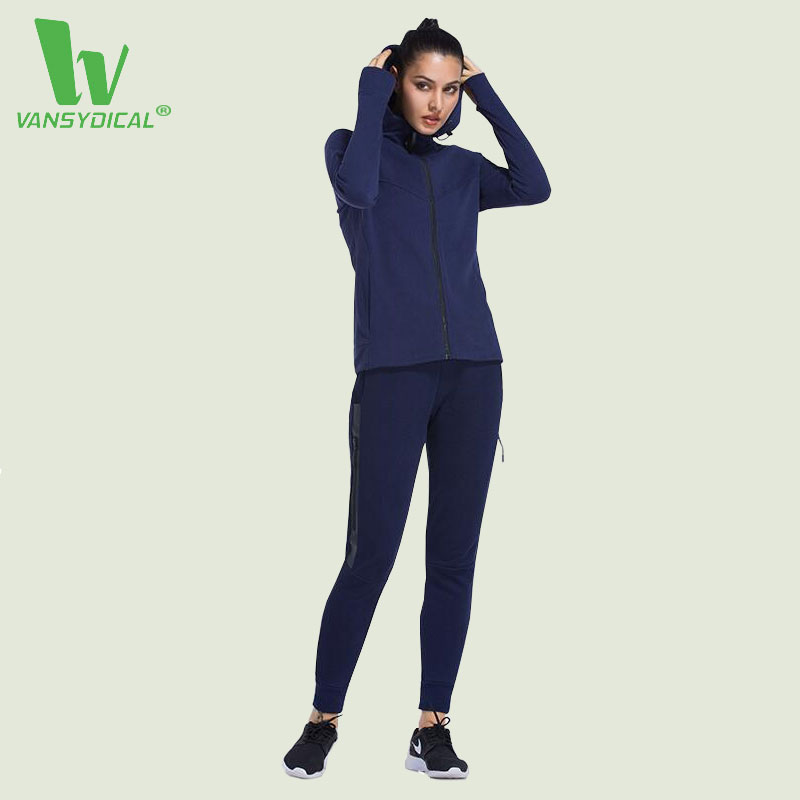 VANSYDICAL 2 Piece Set Women Yoga Jacket Sports Pants Sport Suit Yoga Set Running Fitness Training Clothing for Women Sportswear fitness workout clothing and women s gym sports running girls slim leggings tops women yoga sets bra pants sport suit for female