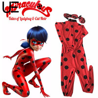 Kids Zip The Miraculous Ladybug Cos Costume Halloween Girls Ladybug Marinette Child Lady Bug Spandex Full