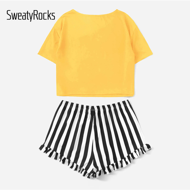 Letter Print Tee And Striped Ruffle Shorts 1