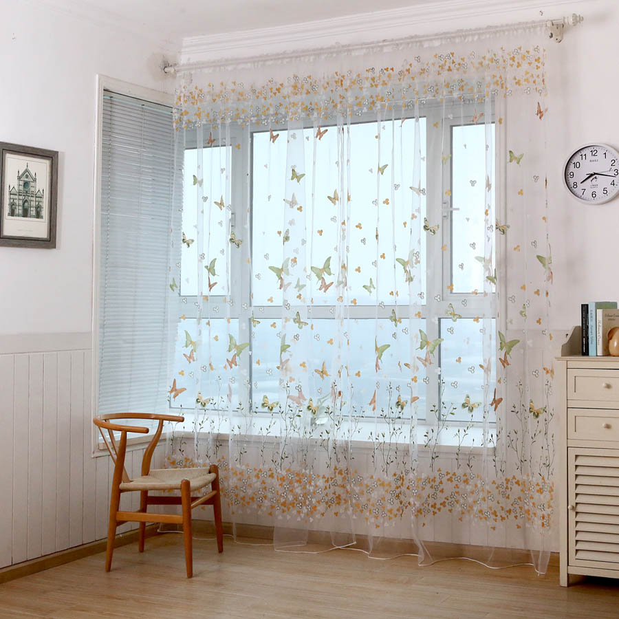 Sheer yellow curtains - Rustic Style Butterfly Printed Red Yellow Blue Curtains Cloth Sheer Tulle Window Treatment For Living Room Bedroom Wp174 20