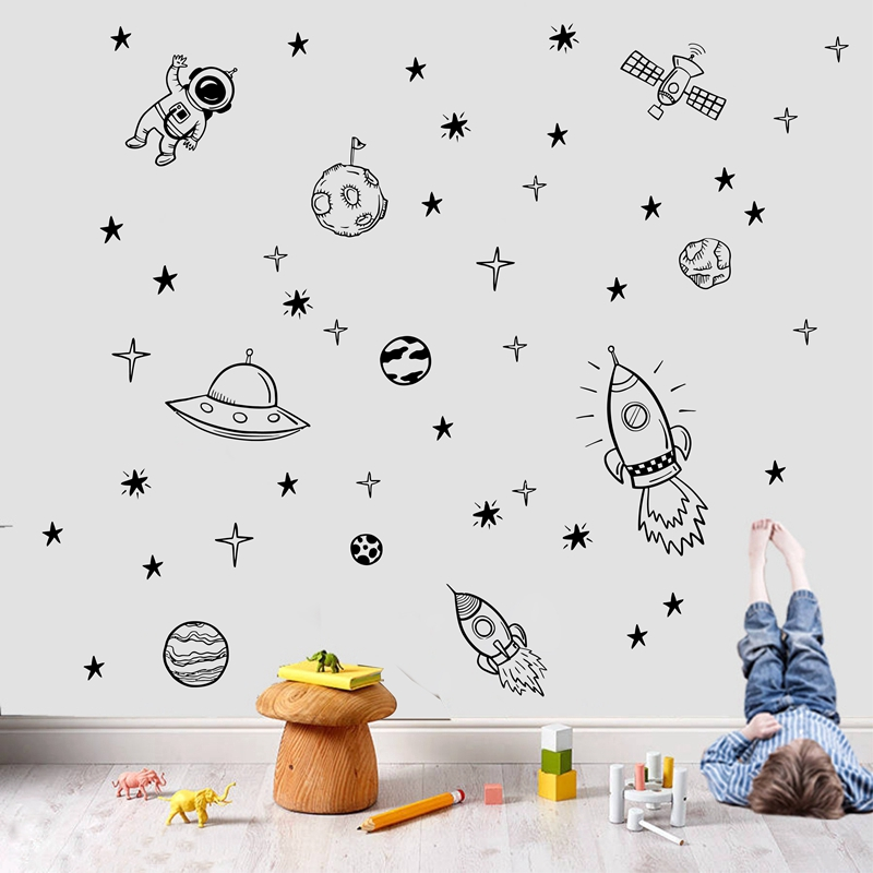 Rocket Ship Astronaut Creative Vinyl Wall Sticker For Boy Room Decoration Outer Space Wall Decal Nursery Kids Bedroom Decor NR13