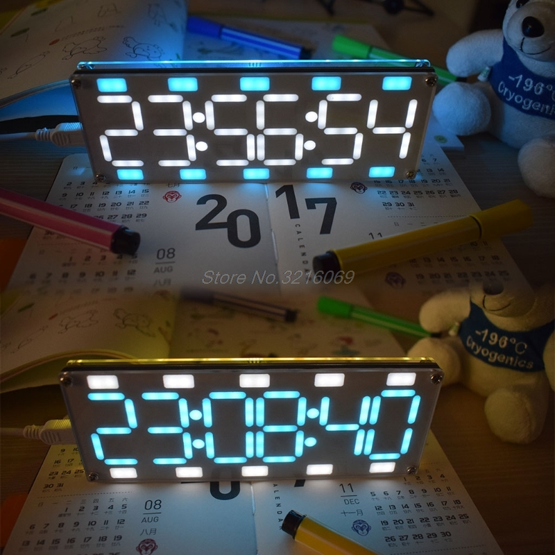 DIY Large Screen 6 Digit Two-Color LED Clock Kit Touch Control w  Temp/Date/Week Aug24 Drop Ship