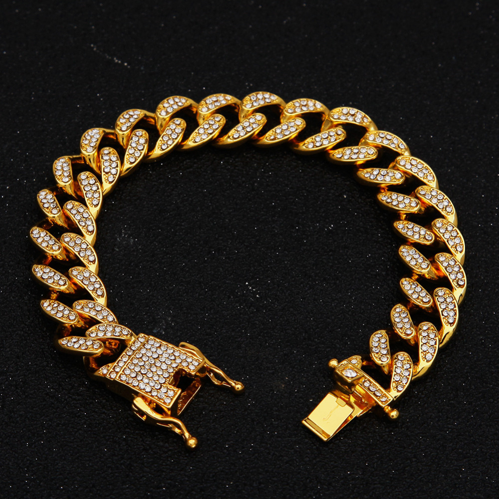 13mm Miami Cuban Link Chain Gold Silver Necklace Bracelet Iced Out Crystal Rhinestone Bling Hip hop for Men Jewelry Necklaces 13