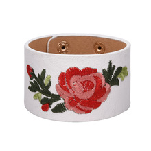 2017 Bohemia Embroidery Flower Leather Bracelet Female Fashion Wide PU Bracelets & Bangles Women Femme