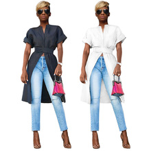 Hot Style Summer Casual Mandarin Collar Short Sleeve Hook And Loop Fasteners Women Open Tre