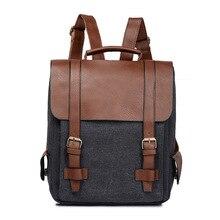 2018 Fashion Women Canvas Leather School Vintage Backpack Men Small  Schoolbag Mochila Feminina Brown Black Backpacks c78692754ae66