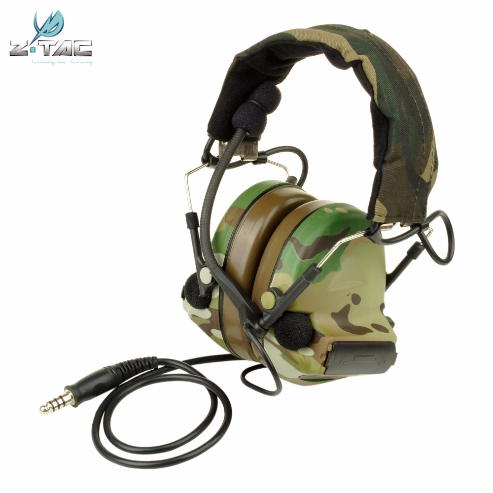 Z-Tactical Comtac II Noise Reduction Headset Earphone Airsoft Paintball Military Hunting Tactical Headphone Z041 Multicam цена 2017