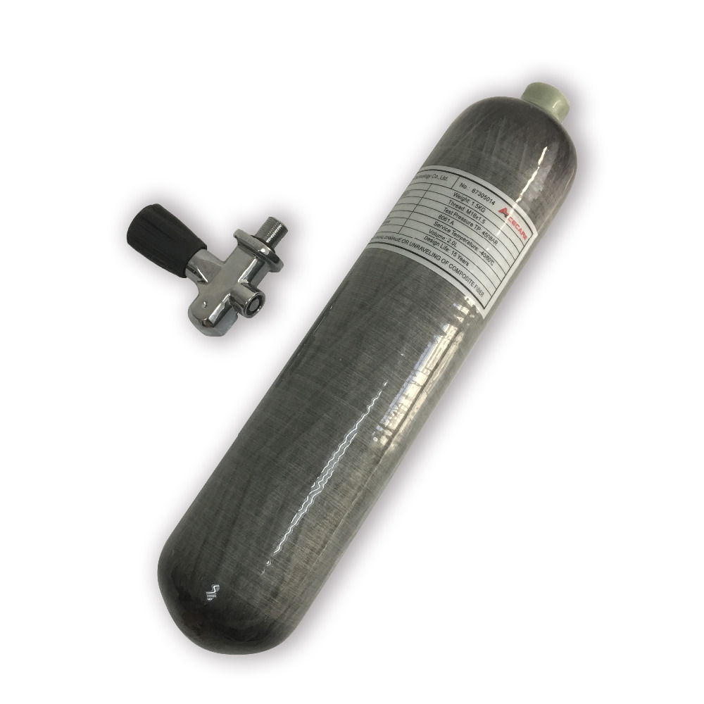 AC10251 Acecare PCP Paintball Air Tank Mini Scuba Diving Tank HPA 4500PSI 2L CE Carbon Fiber Air Bottle With Diving Pcp Valve