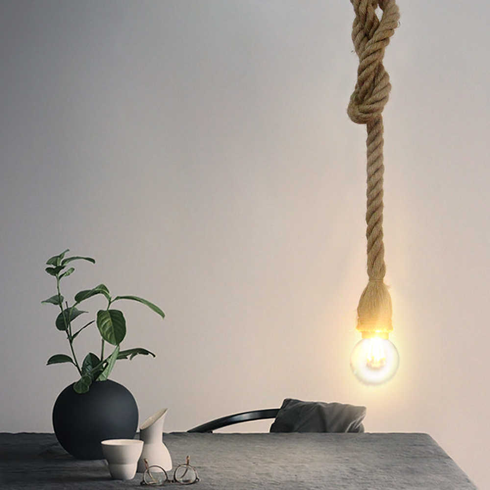 Zerouno E27 Retro 1-5 Head Hemp Rope Pendant Lamp Bulb Holder Hanging Light Fixture Country Vintage Industrial Style NO BULB