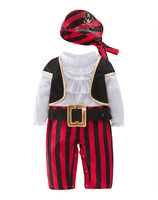 Infant Clothing Baby Outfit Captain Pirate Style Long Sleeve Bodysuit&hat&belt&vest Newborn Toddler Boy Clothes Costume