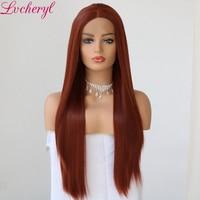 Lvcheryl Long Natural Straight Synthetic Lace Front Wig Glueless Auburn High Temperature Heat Resistant Fiber Hair Women Wigs