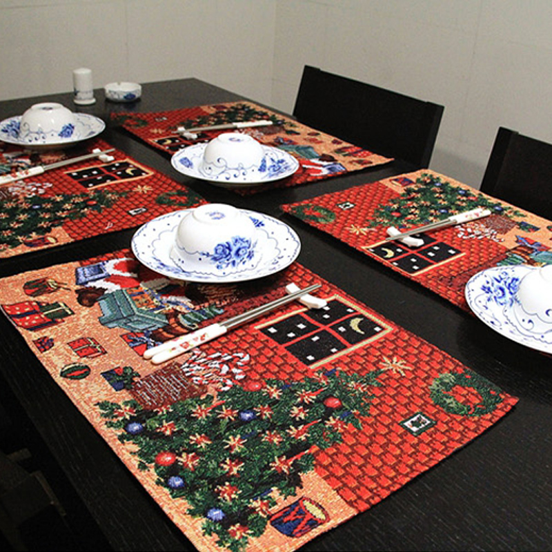 4 pieces a lot square 33 48 cm christmas table mat for Decoration pieces for dining table