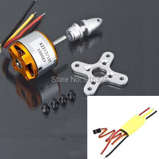 A2212 1000KV Brushless Outrunner Motor 13T for RC Aircraft KK QuadCopter UFO + 30A ESC for Multicopter 450 X525 Quadcopter f02015 f 6 axis foldable rack rc quadcopter kit with kk v2 3 circuit board 1000kv brushless motor 10x4 7 propeller 30a esc