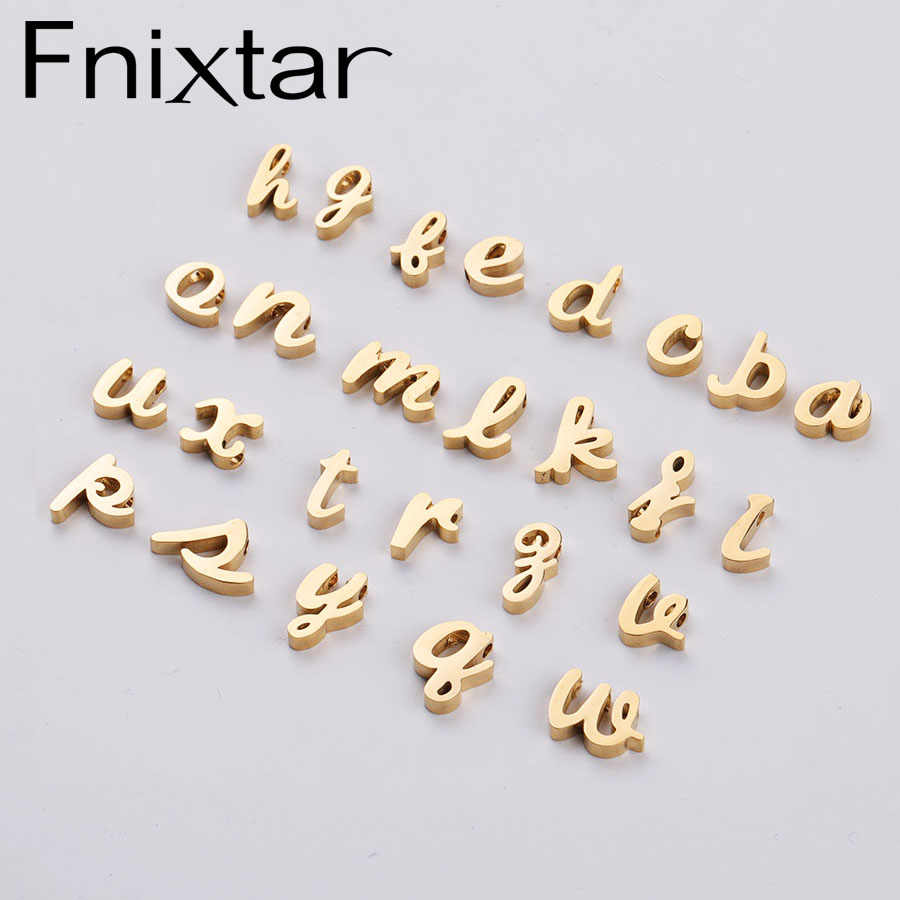 Fnixtar DIY Small Alphabet Bead Mirror Polished Stainless Steel 26 English Letters A-Z Beads Charm 1.8 mm Hole  26piece/lot