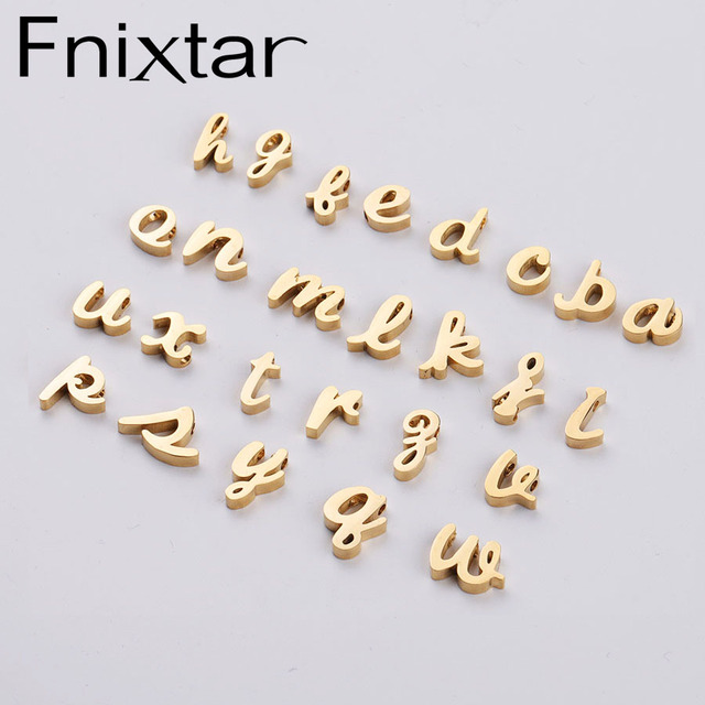 Fnixtar DIY Small Alphabet Bead Mirror Polished Stainless Steel 26 English Letters A Z Beads Charm 1.8 mm Hole  26piece/lot