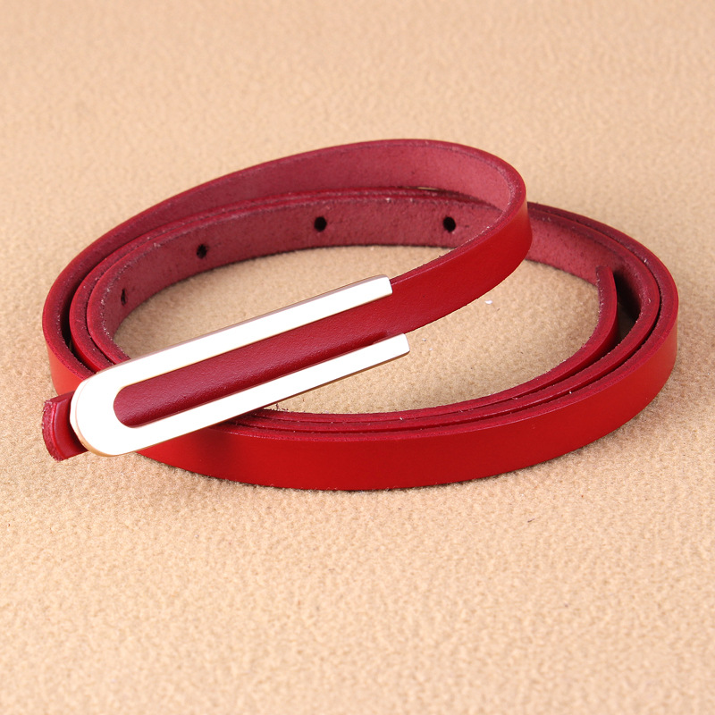 2019 New Designer Black Red White Brown Skinny Thin Genuine Leather Belt Waist Female Gold U Shape Buckle Belts For Women Dress