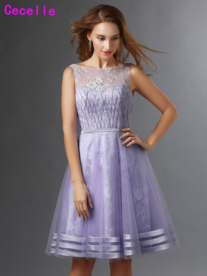 Lilac A Line Lace Cocktail Dresses Short Sleeveless Knee Length