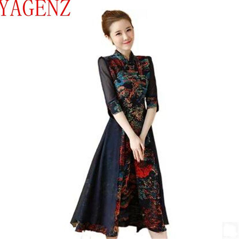 781be365b8aa Fashion7 Yagenz E Manica In Femminile Blue dark Minuti Lino Abbigliamento  Estate Kg305 Vestito 2017 Vintage Nuove Red Donne Primavera Cotone Stampa  ...