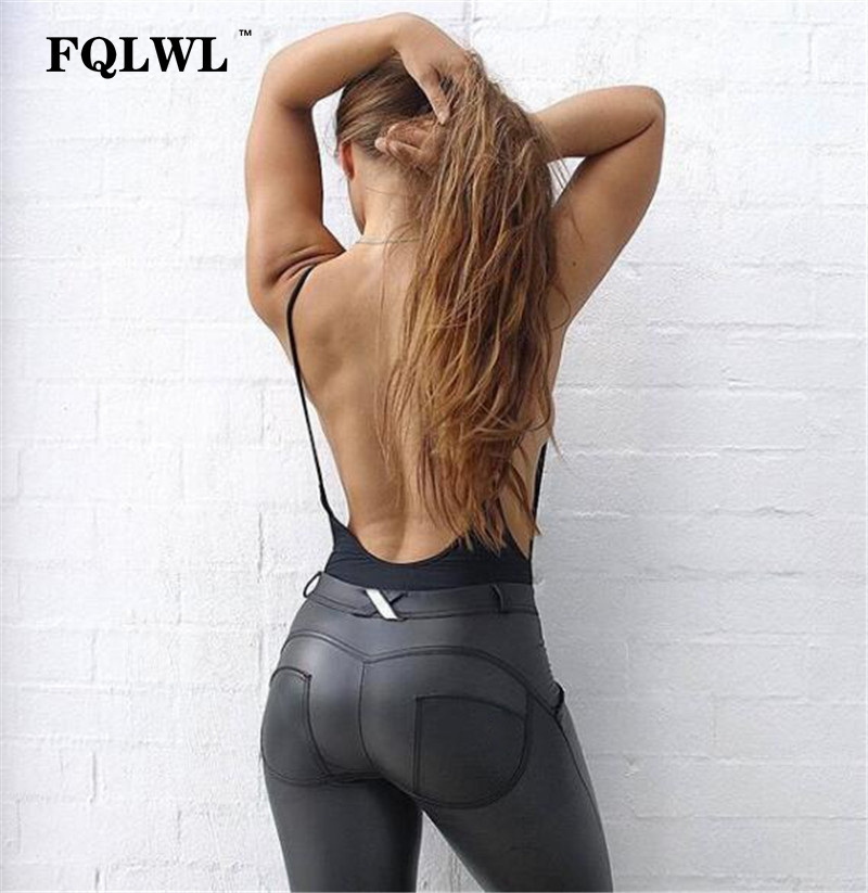 FQLWL Plus Sizes PU Leather Pants Women Elastic Waist Hip Push Up Black Sexy Female Leggings Jegging Casual Skinny Pencil Pants 5