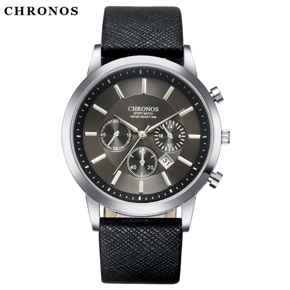 CHRONOS Business Quartz Watch Men Watches Top Brand Luxury Famous Male Clock Leather Wristwatch Man Hodinky Relogio Masculino binssaw fashion watches men top brand luxury quartz watch male business wristwatch mens leather dress clock relogio masculino