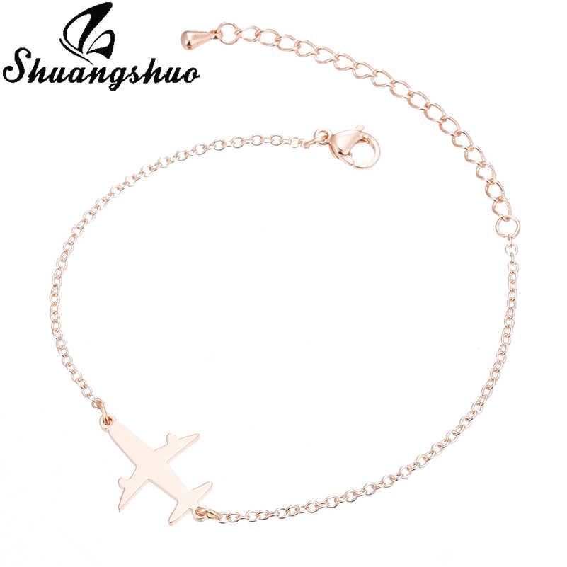 Shuangshuo קסם צמידי שרשרת מטוס Beracelet לנשים מתכוונן צמידי נירוסטה תליון pulseras mujer