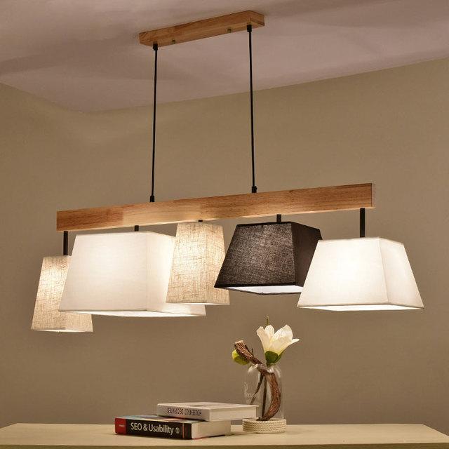 € 105.74 31% de DESCUENTO|Luces colgantes de tela elegante moderna  Lampadario lámparas de barra iluminación de cocina de madera lámpara  colgante ...