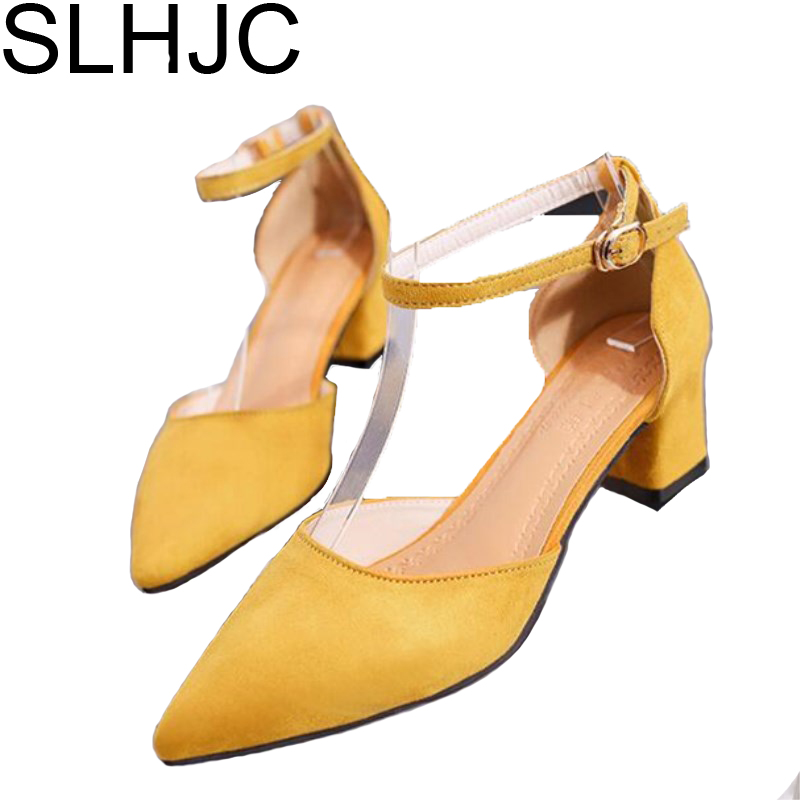 SALE-2017 Summer Pumps Office Lady Shoes Medium Heel Square Heel Pointed Toe Ankle Buckle Sandals 5 CM Heel All Match Pumps dali spektor 6 black ash