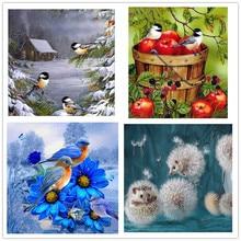 New 5d diamond painting snow cabin three bird parrot full square cross stitch mosaic rhinestone