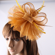 Женские элегантные шляпы sinamay с перьями, женские аксессуары для волос, Необычные вуалетки для свадебной вечеринки, золотые свадебные шляпы и гонок OF1522